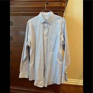 Brooks Brothers men's blue check shirt.  17x36